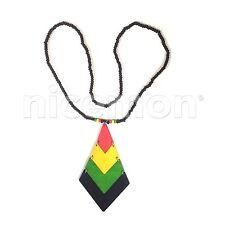 Bois Pendentif Flexible Collier Racines Reggae Rasta Hippie Afrique Selassie