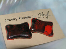Estate Jewelry Designs by Cheryl Black & Red Painted Concave Rectangle Ceramic
