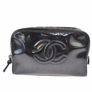 Authentic CHANEL CC Logo Pouch Hand Bag Patent Leather Black Vintage 61MH168