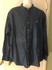 Eagle VINTAGE ~ Hombre Tamaño 17 34/35 Vaqueros ~ Botón Frontal ~Camisa~ Azul~