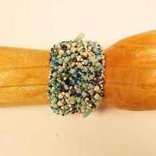 "7"" Multi Color Woven Stone Chip Handmade Seed Bead Cuff  Bracelet"