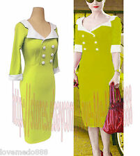 Womens Vintage High Waisted Wiggle Pencil Wear to Work Party Midi Dress LIME (S)