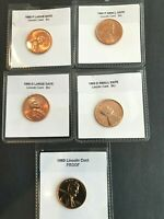 1960 & 1960 D Large & Small Date  CHOICE UNC  + PROOF Lincoln Cent  (5 COINS)