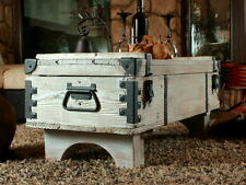 Old Travel Trunk Coffee Table Cottage Steamer White Chest Wooden Storage Box