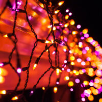 Purple Orange Halloween Net Icicle Party Lights Black Wire, Connectable