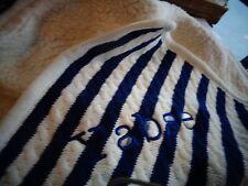 Pottery Barn Kids Emerson navy stripe blanket mono Yabse 30 40   New wo tag