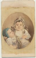 1860s CDV Photo of Artwork Toddler Spoon Feeding Infant Carte de Visite