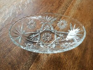 Vintage Lead Crystal Fruit / sweet Bowl Cut Glass Centrepiece Perfect Condition