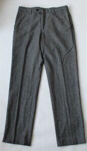 "Next Grey Herringbone Tailored Fit Trousers Waist 30"""