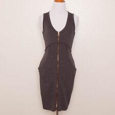 T Alexander Wang Charcoal Gray Zip Front Ponte Knit Stretch Sheath Dress Size XS