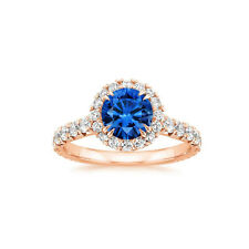 2.55 Ct Round Natural Blue Sapphire Diamond Gemstone Ring 14K Solid Rose Gold