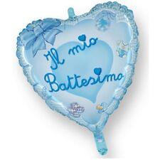 PALLONCINO IL MIO BATTESIMO CUORE AZZURRO BIMBO 45 cm diam MYLAR FESTA PARTY