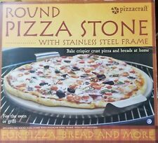 New listing Pizzacraft Pc0004 Round Ceramic Pizza Stone with Solid Stainless Frame, 15-Inch