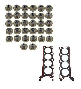 For Jaguar S-Type Engine Set of 32 Valve Stem Oil Seal+Cylinder Head Gaskets