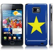 For Samsung Galaxy S2 i9100 Quality Image Yellow Star Hard Back Case - Blue