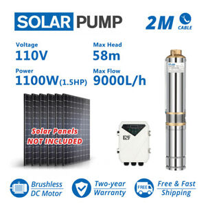 """4"""" WBS Submersible Solar Pump Plastic Impeller MPPT Controller 110V 1100W 40GPM"""