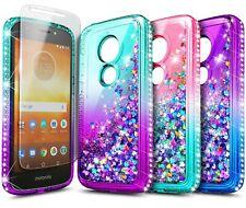 For Motorola Moto g6 Play/e5 (XT1920DL) Case Liquid Glitter Cover+Tempered Glass