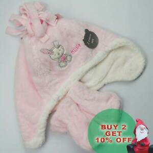 Baby Girl Hat and Mitt Set Powder Pink Pink Faux Fur Baby Ex-Store