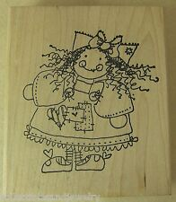 Imaginations Rubber Stamp W716D Cute Doll with Frizzy Hair & Patched Dress 3""