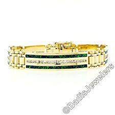 Vintage Men's 14k Gold Channel Set 2ctw Diamond Inlaid Boulder Opal ID Bracelet