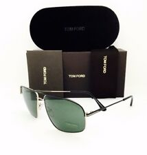 e0538ec315 Tom Ford TF 467 Justin 02n Matte Black Gold Green Sunglasses Authentic