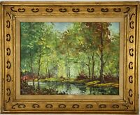 "Antique Signed Artist H. Adler New York/Pennsylvania Oil ""Forest Path"""