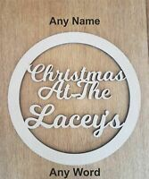 CHRISTMAS AT THE Personalised wooden Xmas hoop - Circle Plaque ANY NAME / WORD