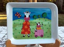 Andrea Fontebasso 1760 Fine Porcelain Plate COW MOTHER & CHILD in Wagon 7.5 x 6""