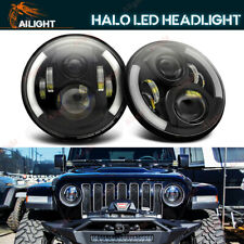 "2X 7""INCH LED Headlight Hi/Lo Halo DRL W/ Amber For Jeep Wrangler CJ JK TJ LJ"