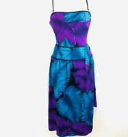 Vintage 50's Blue Purple Pin-Up Swimsuit Shellora by DEWEESE Design Sm 8 Sarong