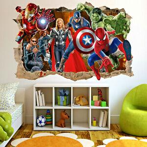 Superheroes Avengers Spiderman Hulk Wall Stickers Art Murals Boys Room Decor 322