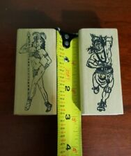 Set of 2 Aztec/Mayan Warrior Rubber Stamps, Man and Woman Warrior