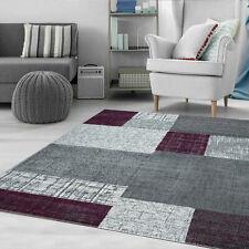 Wohnzimmer Teppich Modern Kurzflor Lila Grau Weiß Kariert Kachel Optik NEU
