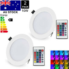 2Pcs 10W RGB LED Recessed Ceiling Light Downlight 16 Color Panel Lamp+ IR Remote