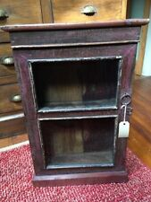 Used Small Distressed Effect Wood & Glass Display Cabinet