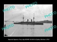 OLD POSTCARD SIZE PHOTO OF JAPAN NAVY SHIP THE HIJMS ASAMA IN SYDNEY c1924