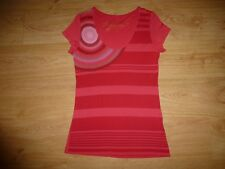 Desigual Multi Stripe Short Sleeve Scoop Neck Raw Edge Viscose Jersey Top L 14