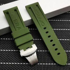 24mm Rubber Watch Band Strap for Panerai PAM Deployment Submersible LOGO!