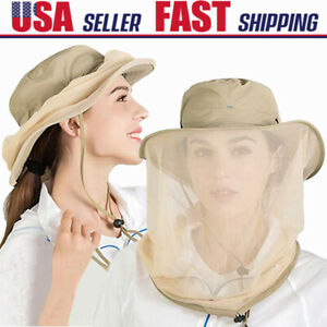 Mosquito Bug Fly Bee Insect Head Face Net Hat Sun Protection Fishing Hiking Cap
