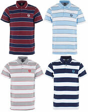 New Mens Sergio Tacchini Striped Polo T-Shirt Top - Retro Vintage Golf Branded