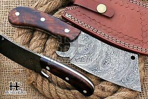 HUNTEX Custom Handmade Damascus Steel 230 mm Long Walnut Wood Camp Cleaver Knife