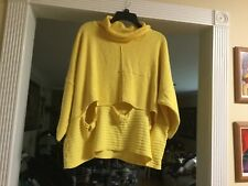 LA Bass Germany Bright Yellow Boxed Pullover Top Lagenlook Plus Women's One Size