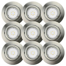 9er Set LED 6,5W Einbaustrahler schwenkbar Einbauleuchte IP23 Warmweiß Nickel