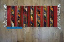 NAVAJO TWILL BLANKET Native American Indian Hand Woven Rug Wool Beautiful Colors