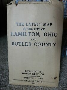 VINTAGE 1940 MAP OF BUTLER COUNTY, OHIO AND CITY OF HAMILTON ORIGINAL ENVELOPE