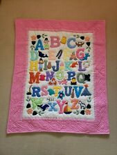 NEW Hawaiian Baby Quilt Blanket Wall Hanging Alphabets Pink Girl