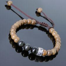Men's Women Bracelet Braided Agarwood Black Obsidian Sterling Silver Bead 836