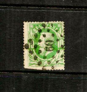 """1869 Belgium, Scott 32 ,10c green """"Leopold II"""", Lozenge of Dots Cancel"""