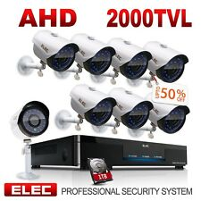 ELEC 8CH 1080N AHD DVR 2000TVL 720P Outdoor Home CCTV Security Camera System 1TB