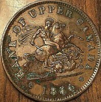 1854 UPPER CANADA DRAGONSLAYER ONE PENNY TOKEN - Fantastic but lightly corroded